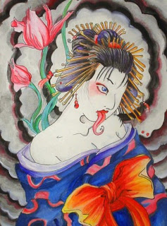 Traditional Japanese Hannya Mask Geisha Tattoo Designs