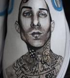 Cool Travis Barker Blink182 Portrait Tattoo