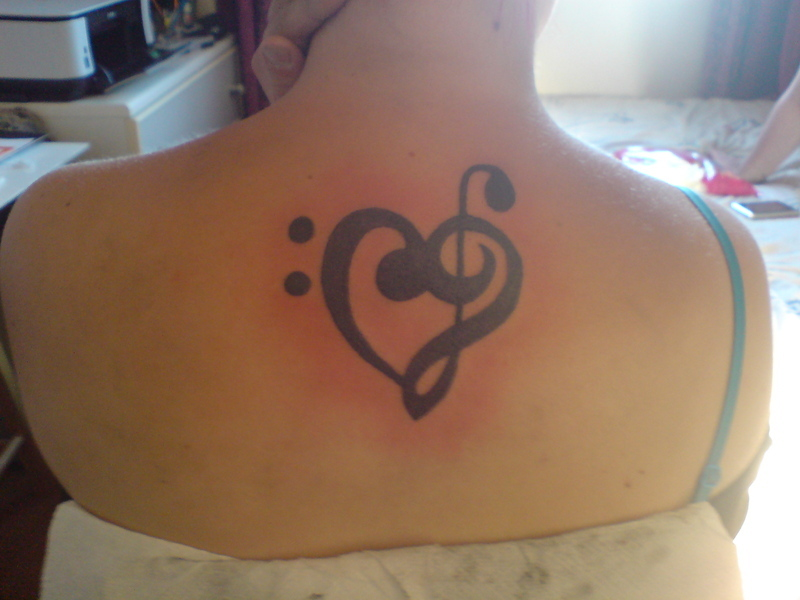 Bass And Treble Clef Heart Tattoo – Upper Back Tattoo