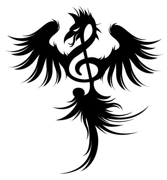 Phoenix Treble Clef Tattoo Design