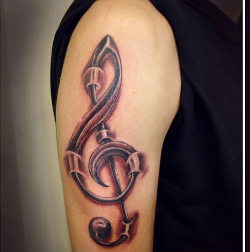 Staggering Treble Clef Tattoo Shoulder for Men
