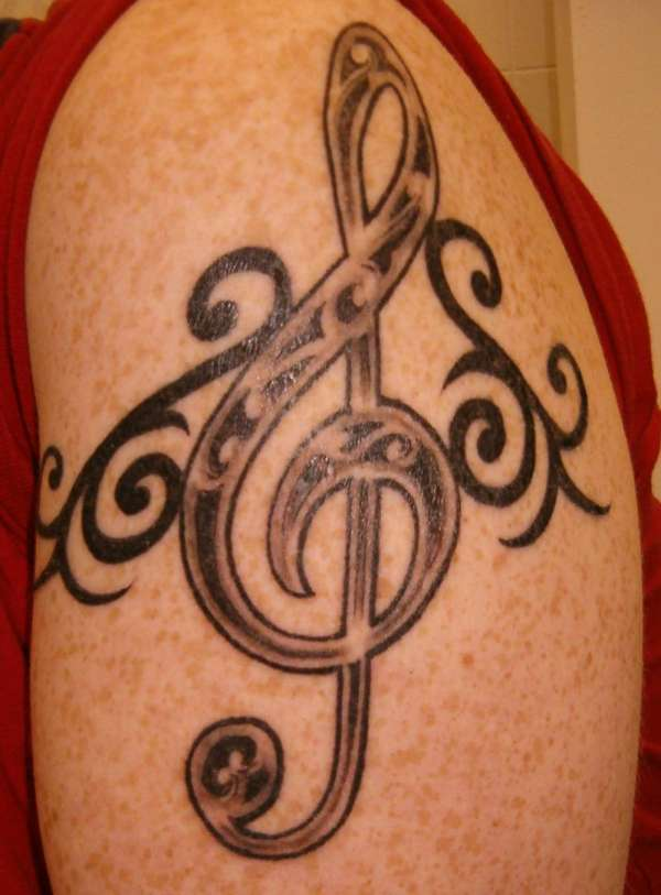 Mike The Bartender Treble Clef Ink Tattoo Design