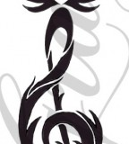 Wonderful Rose And Treble Clef Tattoo Design