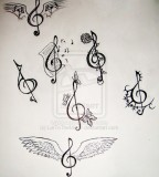 Cute Bass Treble Clef Tattoo Design