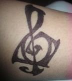 Sharpie Treble Clef Tattoo for Men and Women