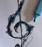 Simply Treble Clef Tattoo Sketch Reference