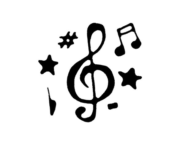 Music Treble Clef Tattoo Design with Star for Tattoo Reference