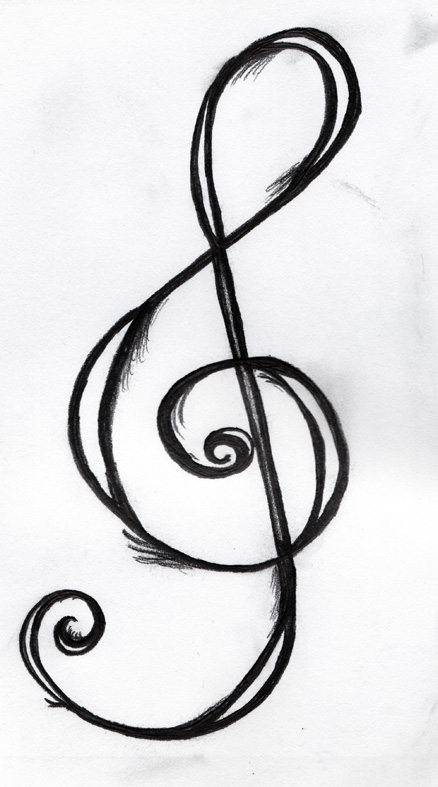 chic treble clef tattoo sketch design