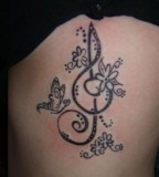 Cute Floral Treble Clef Tattoo Picture
