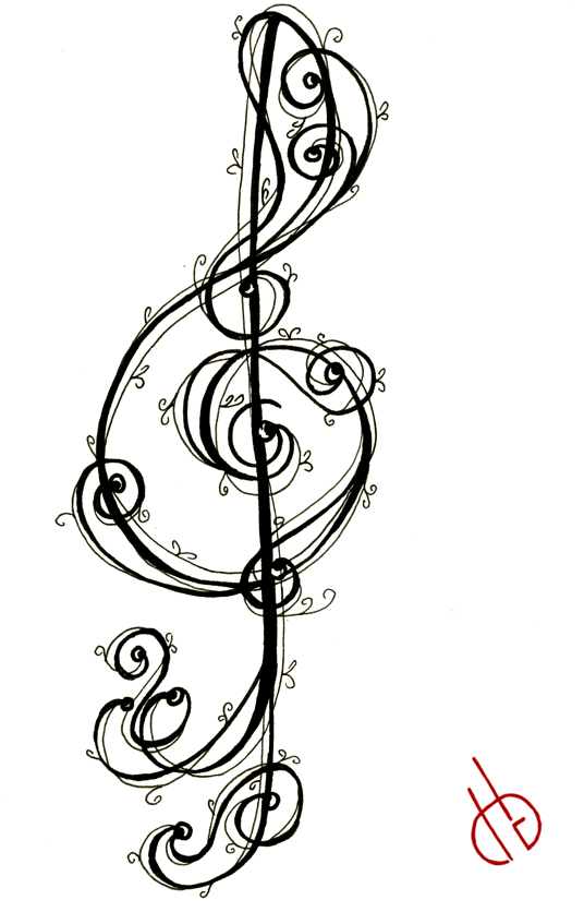 Trebleg Clef Music Art Tattoo