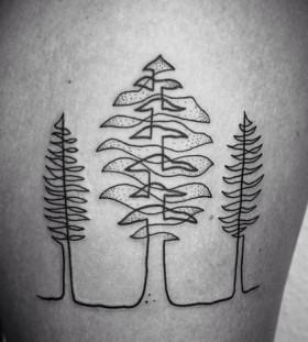 tree-autumn-tattoo-on-leg
