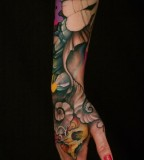 Colorful Arm Sleeve Tattoo for Women