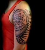 Tribal Tattoo Left Upper Sleeve Design For Men