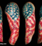 United States' Flag Theme Half Sleeve Tattoo Design