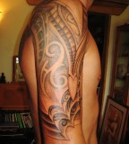 Amazing Shadows on Men's Sleeve Tribal Tattoo