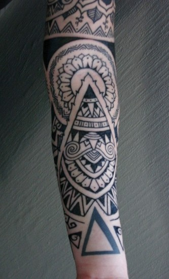 Indian Tribal Style Full Arm Tattoo for Girls
