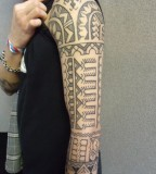 Cool Clean Full Arm Tribal Tattoo Design for Men