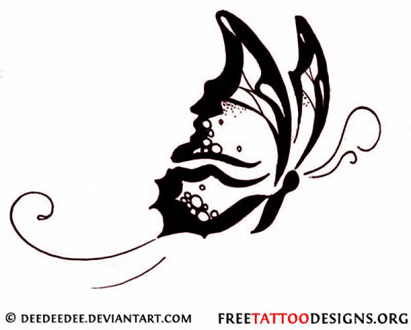 Cool Flying Tribal Butterfly Tattoo Design Sample
