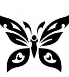 Cool Minimalist Tribal Butterfly Tattoo