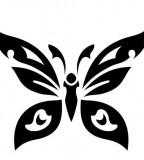 Cool Minimalist Tribal Butterfly Tattoo