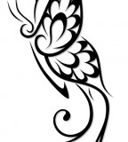 Amazing Flowery Tribal Butterfly Tattoo Design Sample