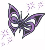Purple Sparkling Butterfly Tribal Tattoo Design