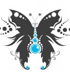 Gorgeous Butterfly With Blue Dots Tattoo