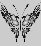 Cool Silver Highlight Tribal Butterfly Tattoo Design