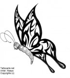 Cool Butterfly Tribal Wings Tattoo Design