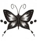 Black Grey Tribal Butterfly Tattoo Design Sample