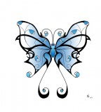 Lovely Blue Shade Tribal Butterfly Sketch for Tattoo