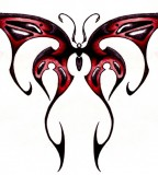 Awesome Red Black Tribal Butterfly Design for Tattoo