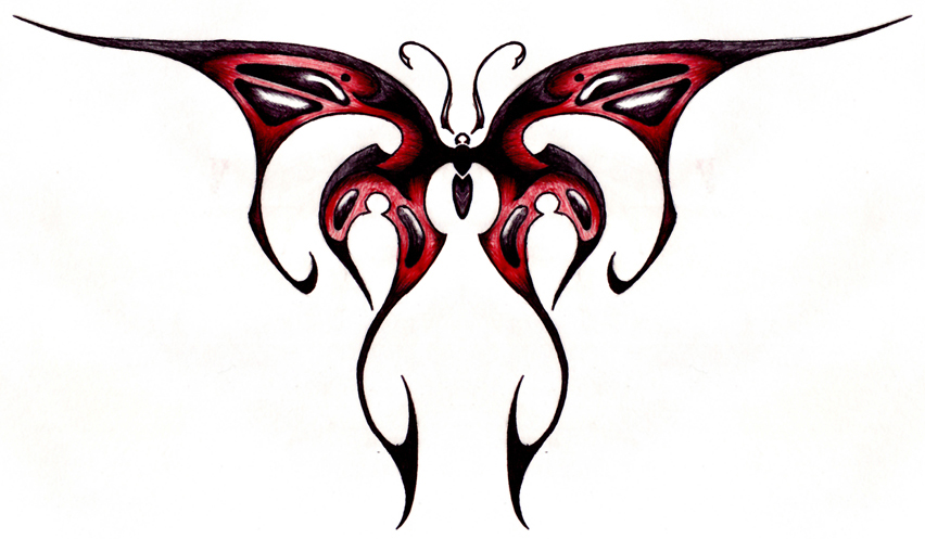 9f9440638c556 Awesome Red Black Tribal Butterfly Design for Tattoo - | TattooMagz ...