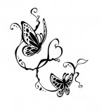 Cute Love Theme Tribal Butterfly Tattoo Design