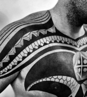 tribal chest tattoos for men 1
