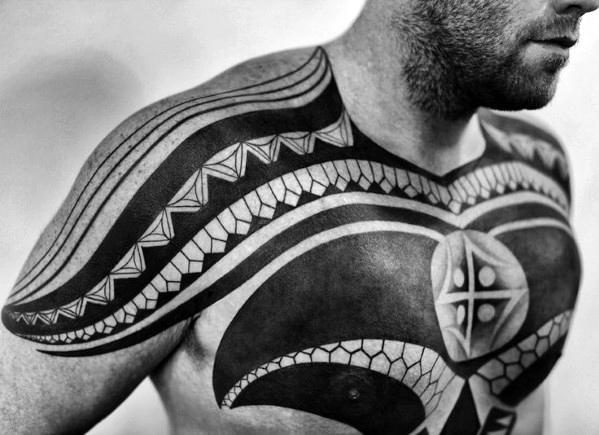 tribal chest tattoos for men 1