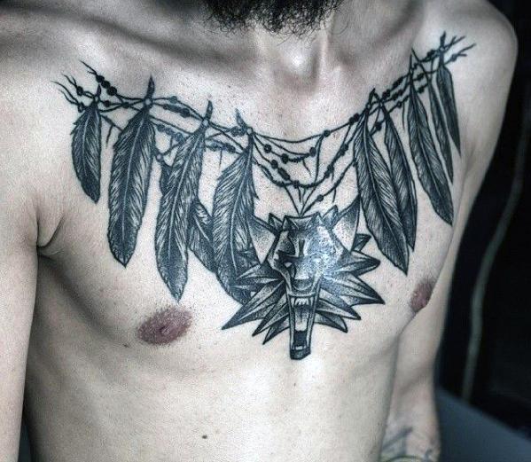tribal chest tattoos for men