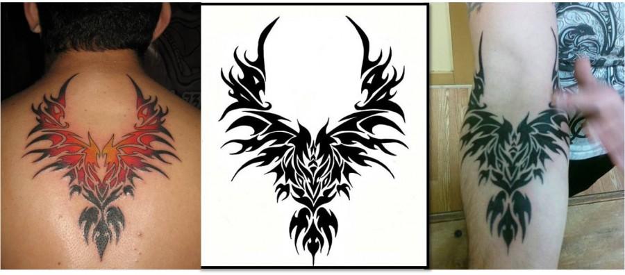 Amazing Balck Tribal Phoenix Tattoo