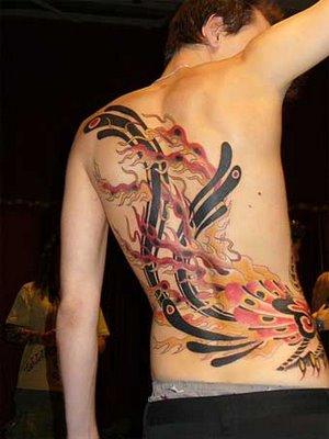 Full Colored Tribal Phoenix Tattoo