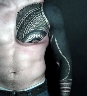 tribal sleeve and chest tattoos for men