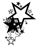 Large Black-and-White Stars Tattoo Design Ideas - Stars Tattoos