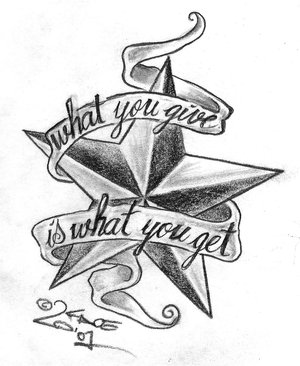 """""""What you give is what you get"""" Star & Ribbon Tattoo Design Sketches"""