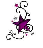 Feminine & Cute Purple Swirly Star Tattoo Designs for Women
