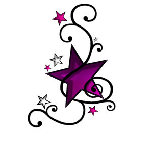 Feminine & Cute Purple Swirly Star Tattoo Designs for Women