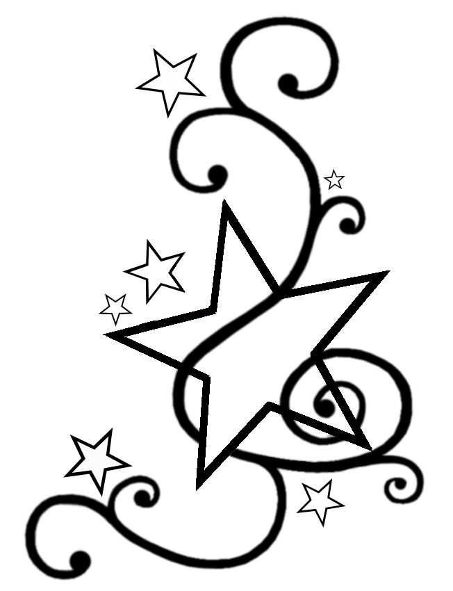Swirly Star Tattoo Design Template by Darkhaiiro (Deviantart) – Star Tattoos