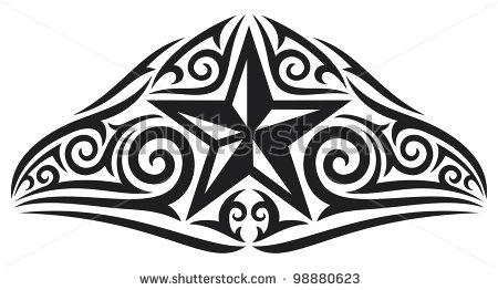 Polynesian Tribal Star Tattoo Design by Shutterstock – Tribal Tattoos