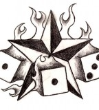 Burning Star & Dices Tattoos Gallery Design Sketches - Star Tattoos