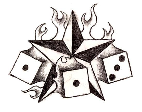 Burning Star & Dices Tattoos Gallery Design Sketches – Star Tattoos