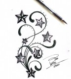 Stars and Swirls Tattoo Design Sketches by Bixotattoo (Deviantart) - Star Tattoos