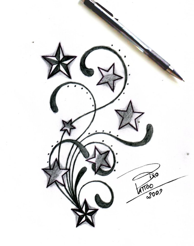 Stars and Swirls Tattoo Design Sketches by Bixotattoo (Deviantart) – Star Tattoos